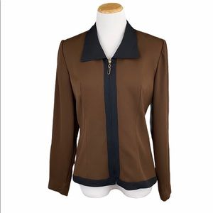 Donna Ricco Brown/Black Fully Lined Zip Up Blazer